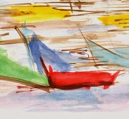 Watercolor Abstract - Boats-detail-7540G