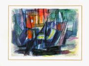 Watercolor Abstract - Sunset-matted-7541G