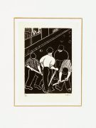 Woodcut - A Day's Work-matted-7547G