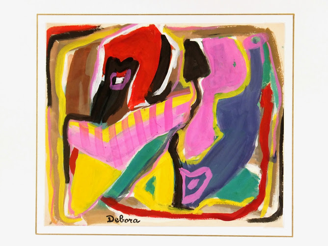 Gouache Abstract - Vibrancy-matted-7569G