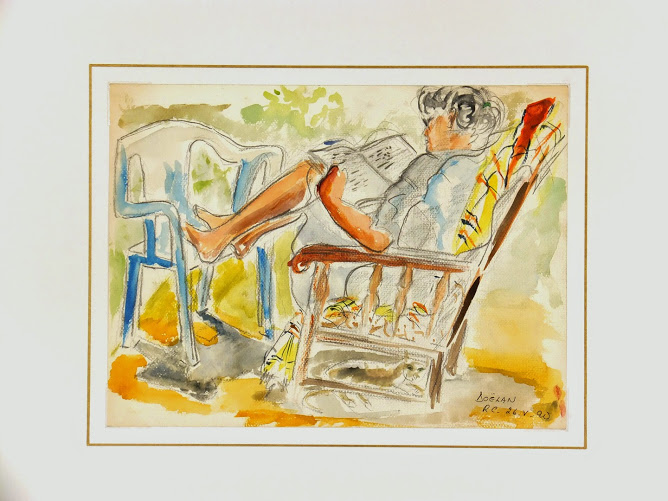 Watercolor - Reclining, 1990-matted--7573G