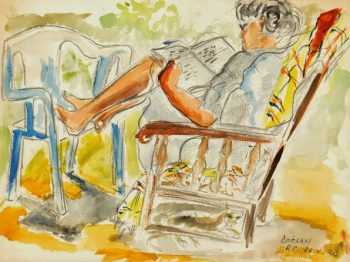 Watercolor - Reclining, 1990-main--7573G