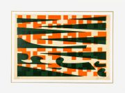 Abstract Lithograph - Pixels & Waves-matted-7584G