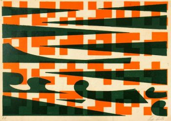 Abstract Lithograph - Pixels & Waves-main-7584G