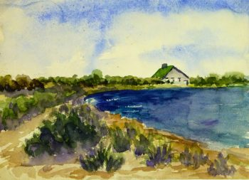 Watercolor Landscape- Waterfront Home, Circa 1950-main-8085k