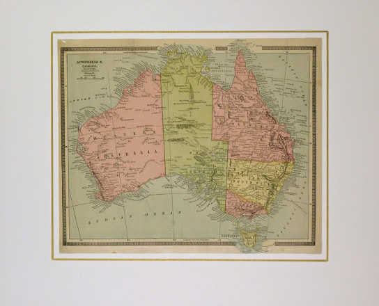 Map of Australia, 1890-matted-8204K