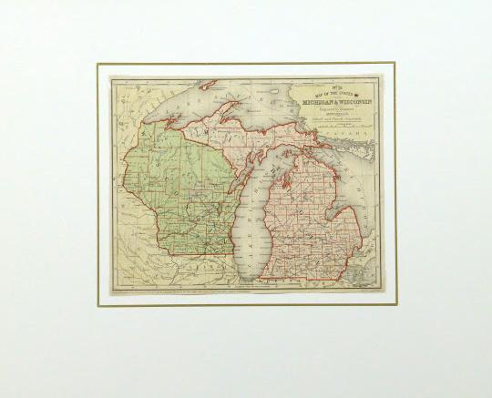 Map - Michigan & Wisconsin, 1860-matted-9480K