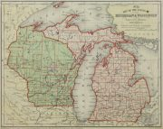 Map - Michigan & Wisconsin, 1860-main-9480K