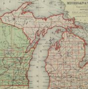 Map - Michigan & Wisconsin, 1860-detail-9480K