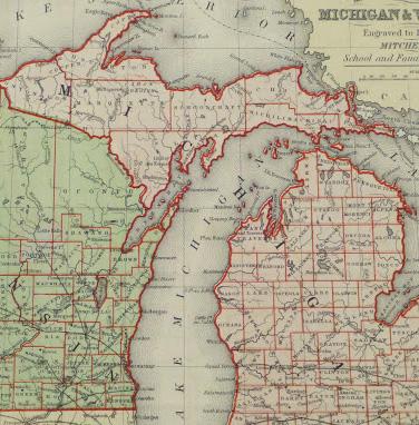 Map - Michigan & Wisconsin, 1860-detail-9480K