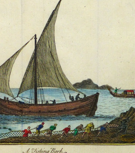 Net Fishing Engraving, Circa 1780-detail-9502K