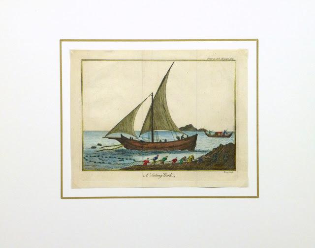 Net Fishing Engraving, Circa 1780-matted-9502K