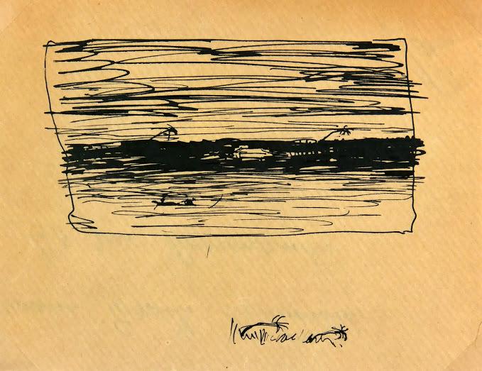 Pen & Ink Drawing - The Storm, Circa 1900-main-5318K