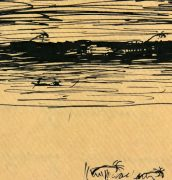 Pen & Ink Drawing - The Storm, Circa 1900-detail-5318K