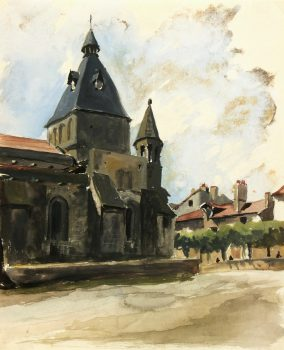 Watercolor Landscape - Church Facade, Circa 1940-main-6672K