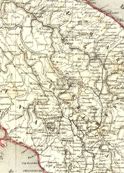 Central Italy Map, 1885-detail-7248K