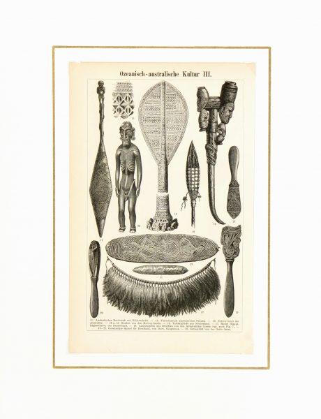 Pacific Islander Culture Print, Circa 1880-matted-7423K