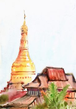 Watercolor Landscape - Golden Stupa, 2013-main-7893K