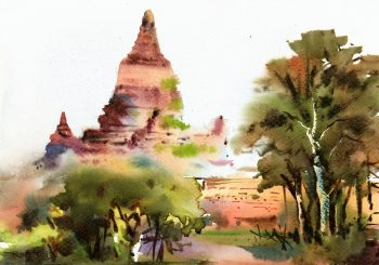 Watercolor Landscape - Burmese Temple, 2013-main-7901K