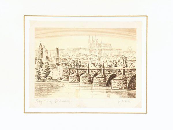 Prague Print, Circa 1960-matted-7906K