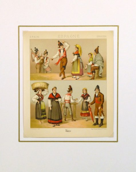 Clothing of Galicia Spain Print, 1888-matted-8171K