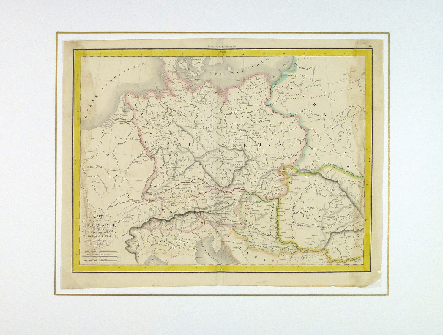 Ancient Germany Map, 1838-matted-8187K