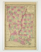 Arkansas, Mississippi & Louisiana Map,1862-matted-8300K