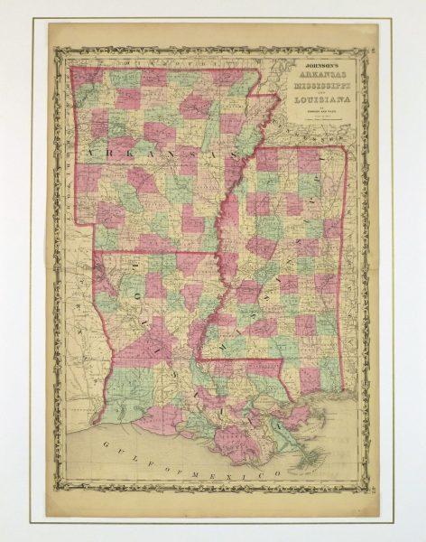 Arkansas, Mississippi & Louisiana Map,1862-matted-8300K