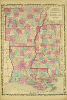 Arkansas, Mississippi & Louisiana Map,1862-main-8300K
