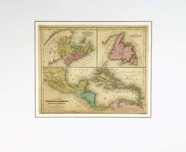 Map of West Indies & Islands, 1844-matted-8560K