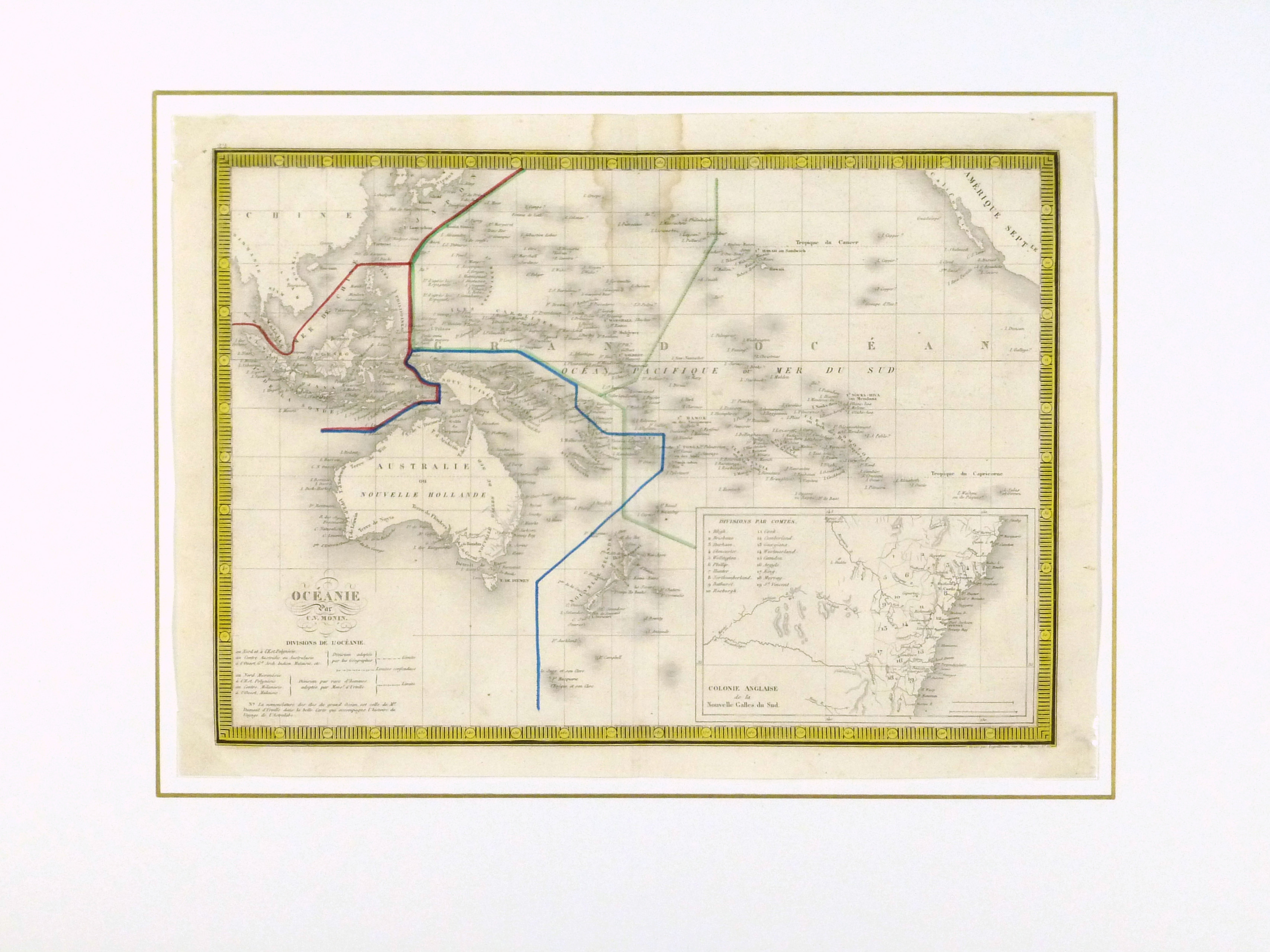 Pacific Ocean Map, 1842-matted-8829K