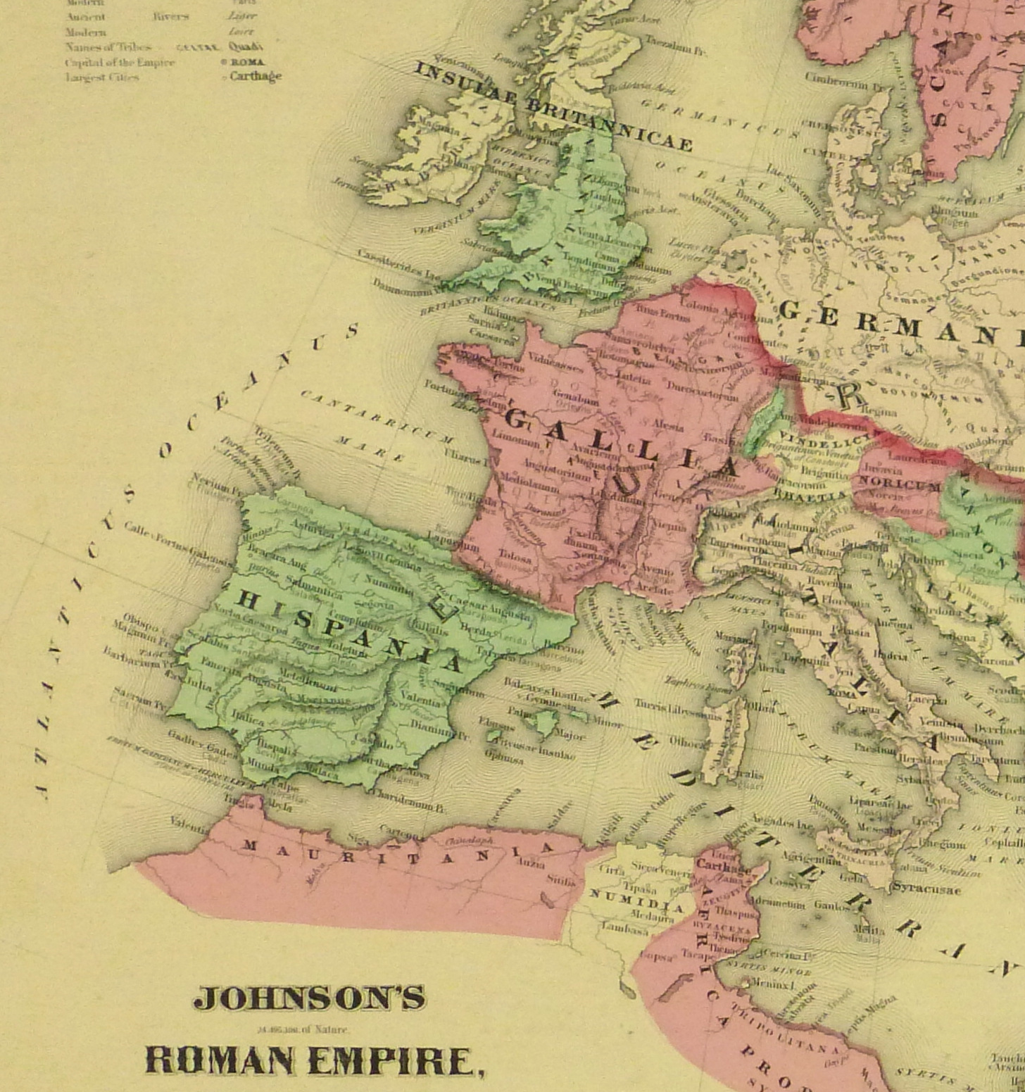 Roman Empire Map, 1868-detail 2-9361K