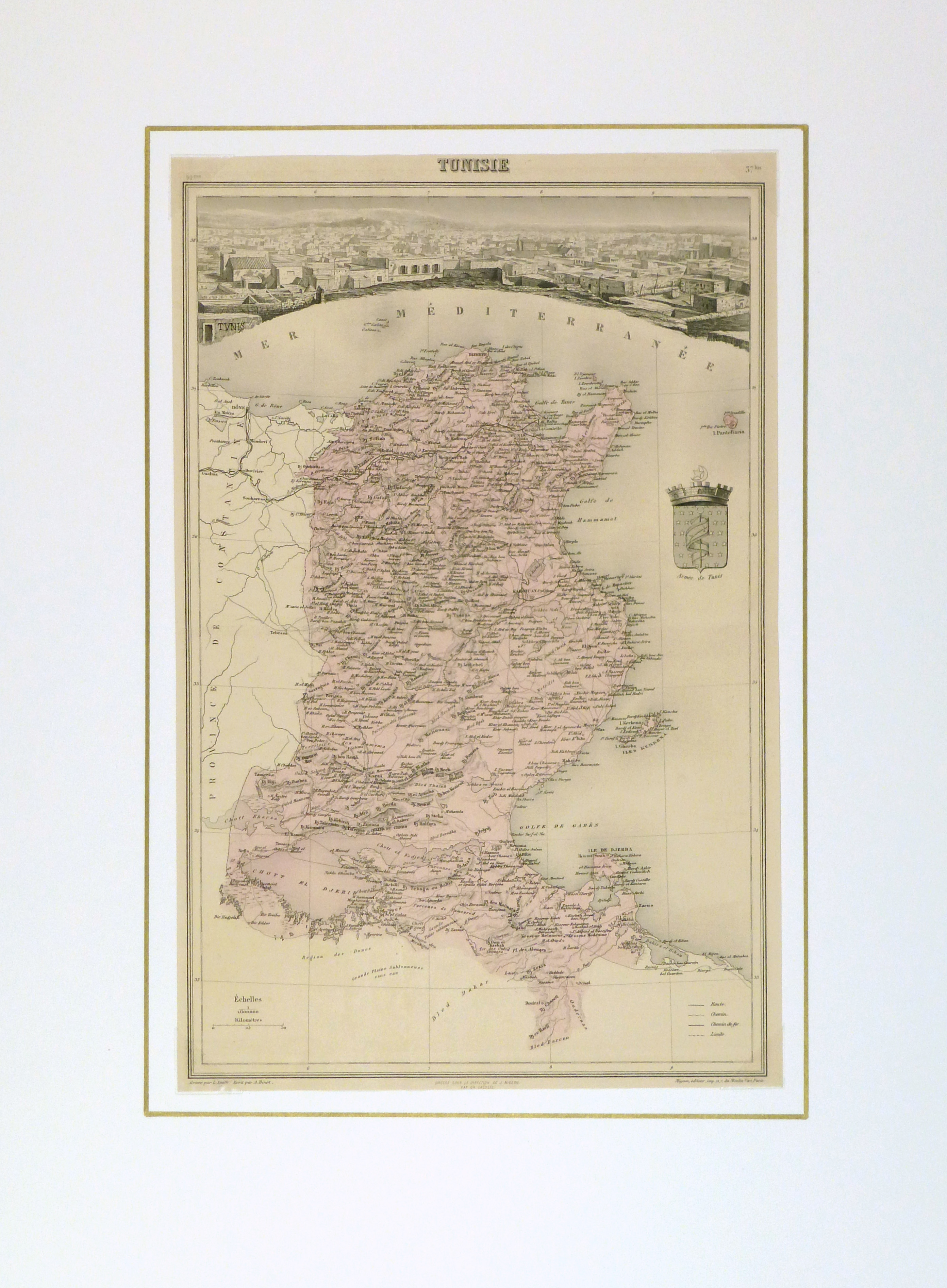Tunisia Map, 1904-matted-9366K