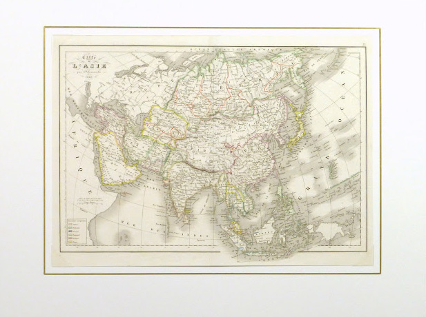 Map of Asia, 1845-matted-9402K
