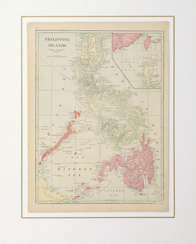 Map Philippine Islands, 1916-matted-9445K