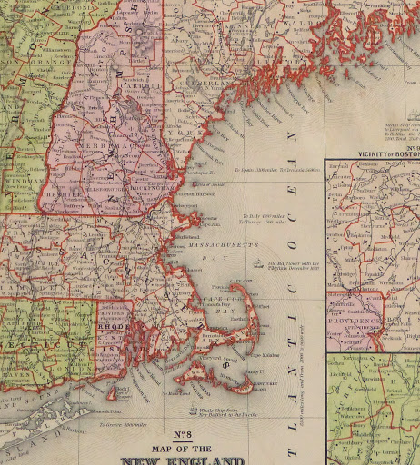 Old New England Map.Vintage New England Map 1860 Original Art Antique Maps Prints