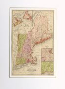 Vintage New England Map, 1860-matted--9472K