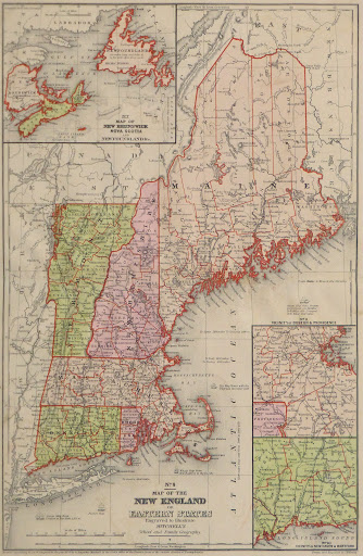 Vintage New England Map, 1860-main-9472K