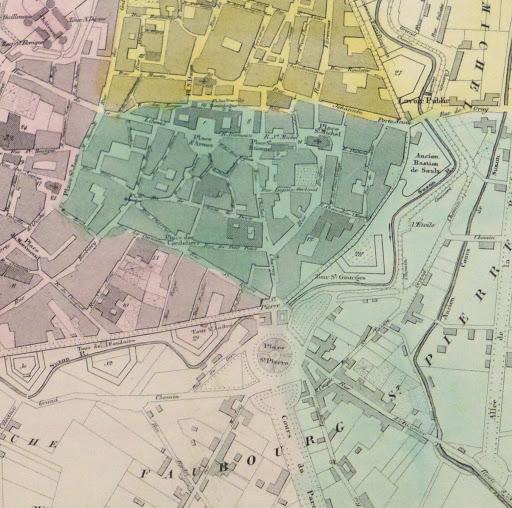 Map of Dijon France, Circa 1850-detail 2-9481K