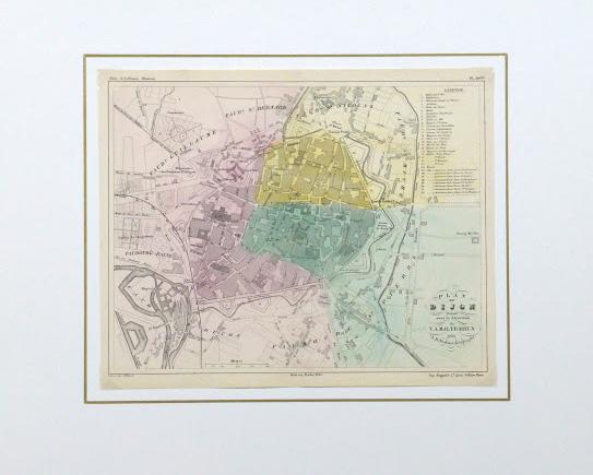 Map of Dijon France, Circa 1850-matted-detail 2-9481K