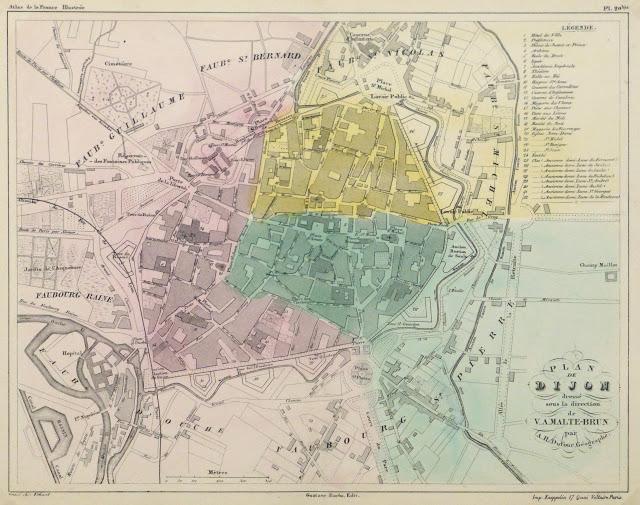 Map of Dijon France, Circa 1850-main-9481K