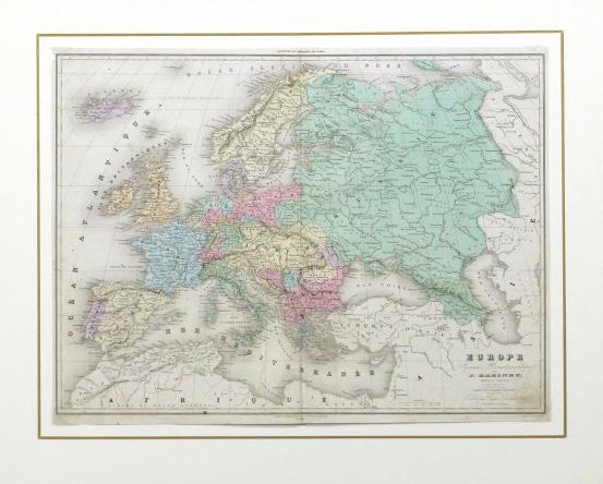Europe Map, 1859-matted-9484K