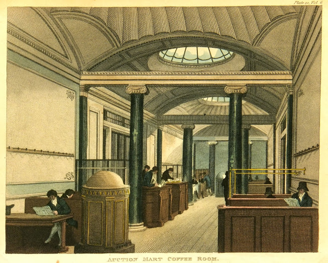 English Coffee Shop Engraving, Circa 1811-main-K4982