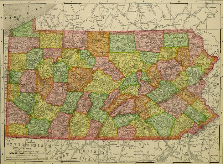 Map of Pennsylvania, 1907-main-KB1682