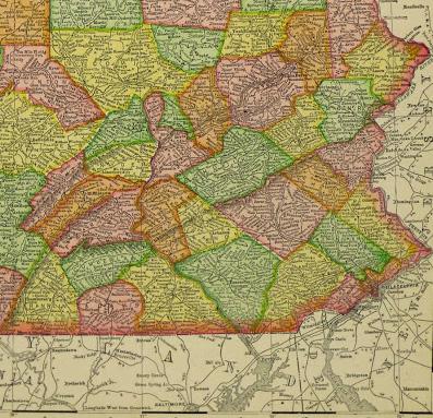 Map of Pennsylvania, 1907-detail-KB1682