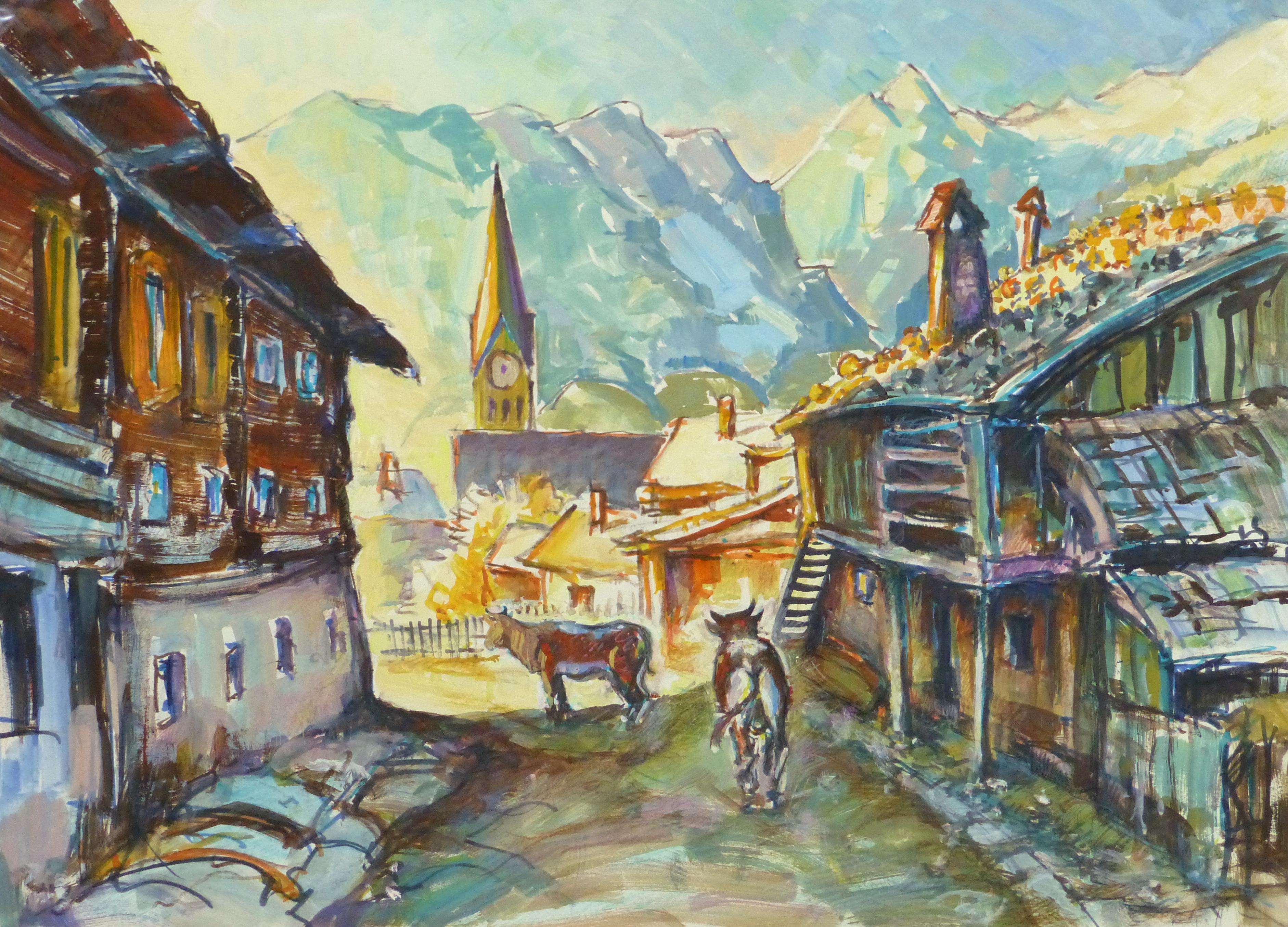 Watercolor Landscape - Rustic Mountain Town, Circa 1950-main-10713M