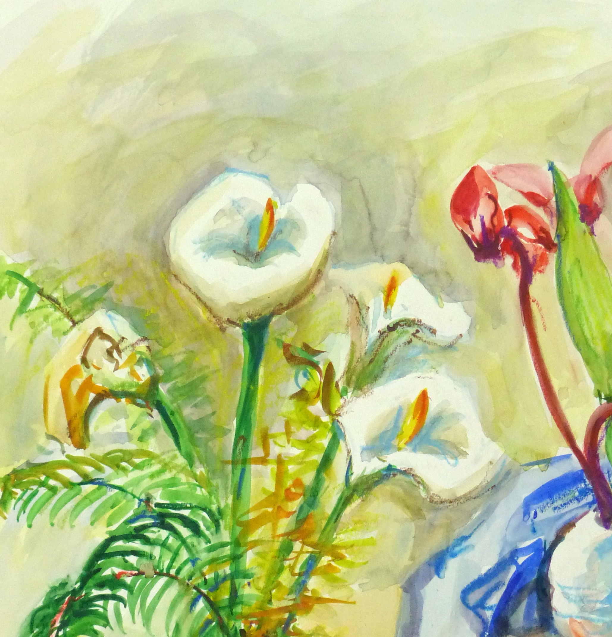 Watercolor Still Life - Lilies & Orchids, Circa 1960-detail 2-10714M