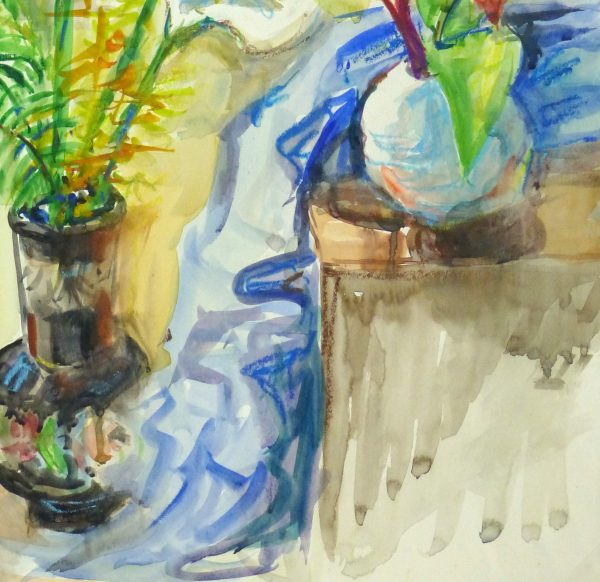 Watercolor Still Life - Lilies & Orchids, Circa 1960-detail-10714M