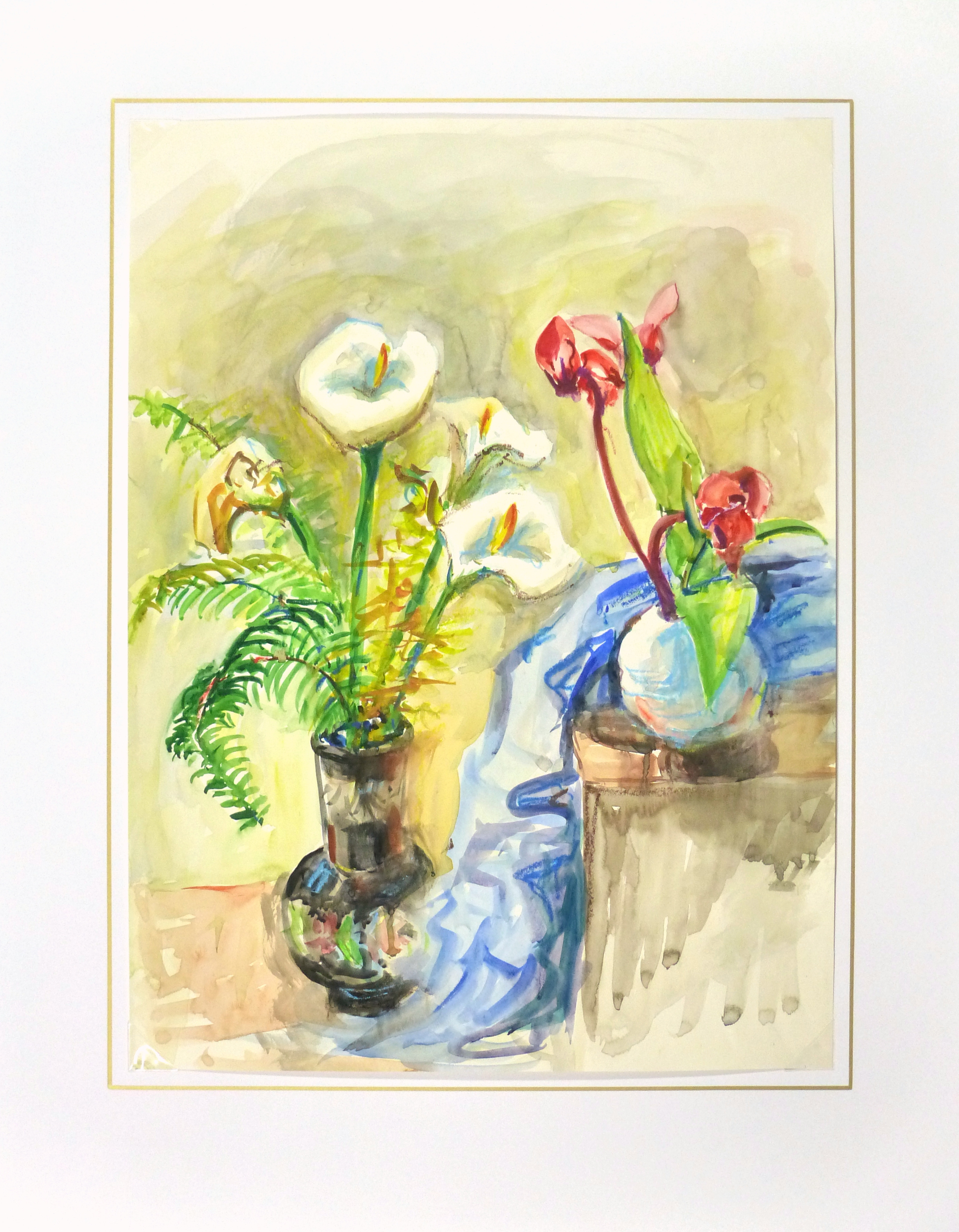 Watercolor Still Life - Lilies & Orchids, Circa 1960-matted-10714M