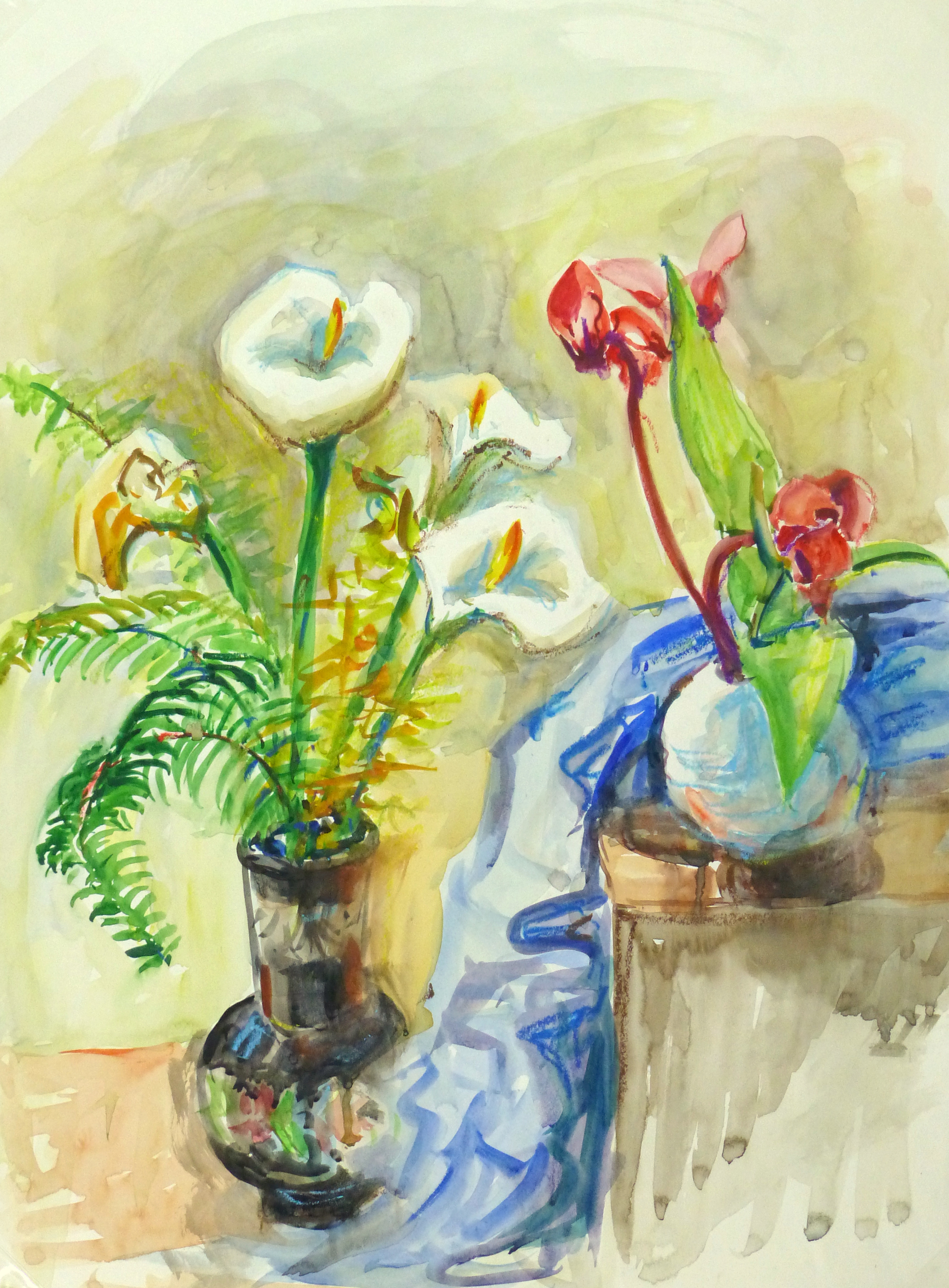 Watercolor Still Life - Lilies & Orchids, Circa 1960-main-10714M